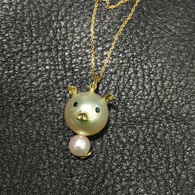 Cute pig pendant necklace genuine natural southsea pearl pendant cute pig pendant necklace genuine natural southsea pearl pendant necklace gold pearl 18k gold necklace fine mozeypictures Gallery