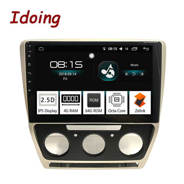 """Idoing 10.2"""" 1Din 2.5D Car Android 8.0 Radio Multimedia Player Fit Skoda Octavia 2007-2014 4G+64G GPS Navigation Fast Boot Wifi"""