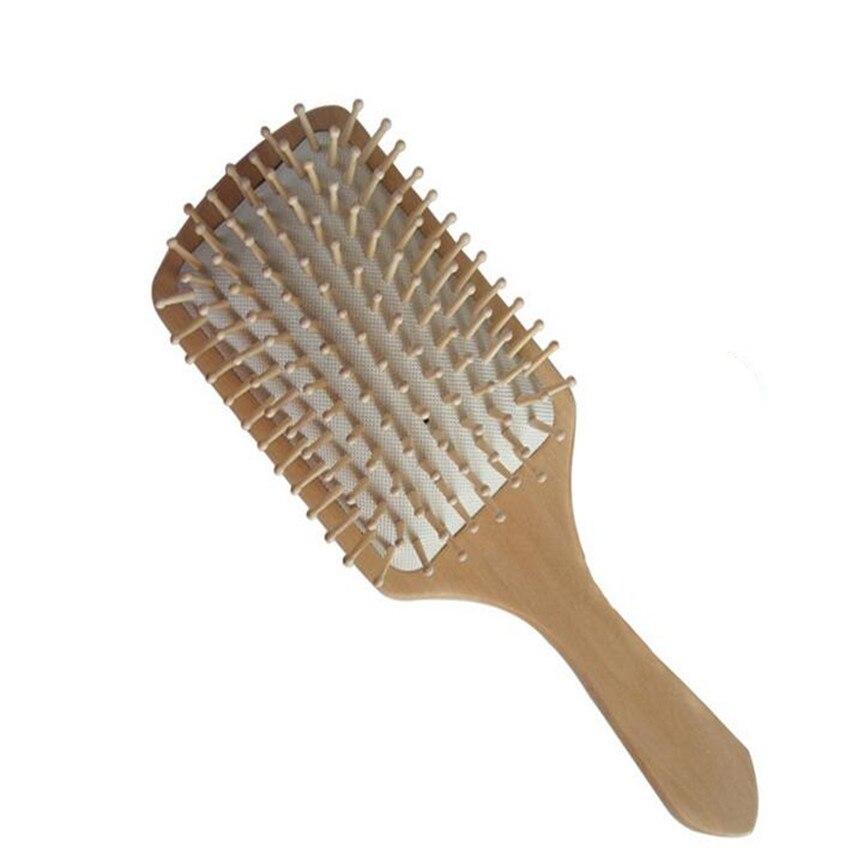 1PC Hair Combs Wooden Vent Paddle Brush Keratin Salon Care Spa Massage Antistatic Women Styling Brushes Tools BO