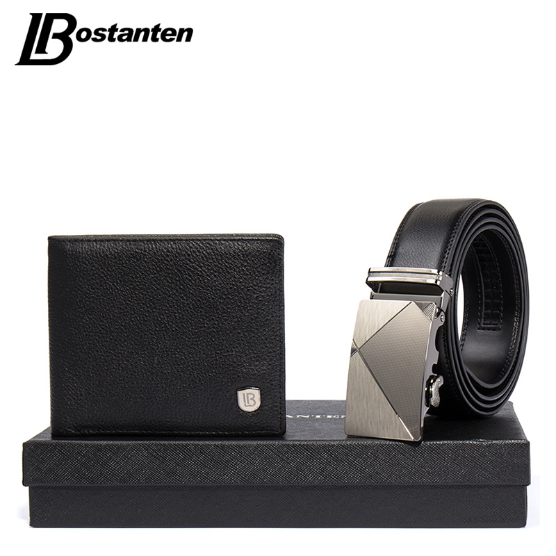 Bostanten Christmas Gift For Men Genuine Leather Men s Wallets Purse And Belts Gift Box Set