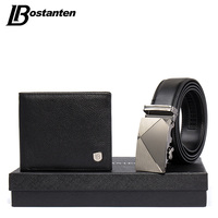 Bostanten Christmas Gift For Men Genuine Leather Men's Wallets Purse And Belts Gift Box Set For Christmas Husband