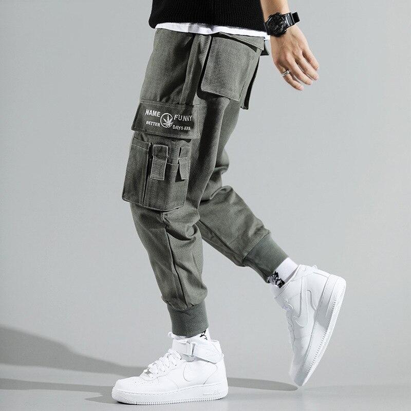Japanese Style Fashion Men Jeans Casual Harem Trousers Loose Fit Multi Pockets Cargo Pants Men Streetwear Hip Hop Joggers Pants