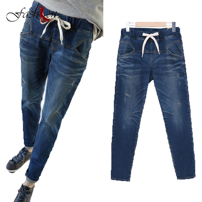 XL-5XL Hot Sale Women Fashion Spring Autumn Large Size Women Haren Slim Soft Denim Pants Elastic Waist Stretch Jeans Female New