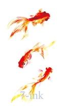 Waterproof Temporary Tattoos sticker Chinese painting goldfish tatooTransfer fake flash tattoo 10.5*6 cm for man woman