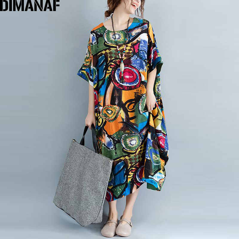 DIMANAF Women Dress Plus Size Summer Pattern Print Linen ...
