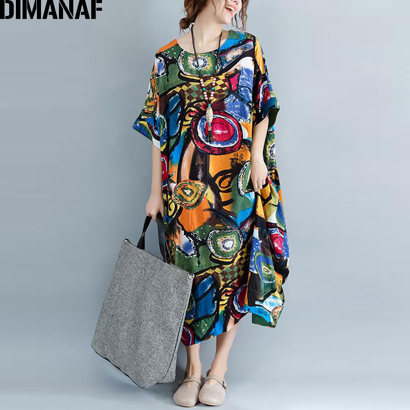 DIMANAF Women Dress Plus Size Summer Pattern Print Linen Colorful Female Loose Batwing Casual Retro Vintage Large Size Dresses