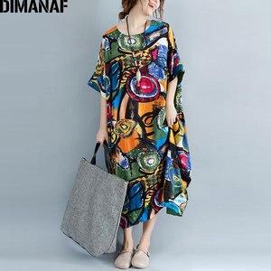 Image 1 - DIMANAF Women Dress Plus Size Summer Pattern Print Linen Colorful Female Loose Batwing Casual Retro Vintage Large Size Dresses