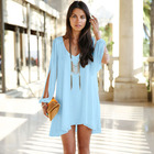 Cheap 8Color New Fashion Women Dress Tropical Plus Size Women Clothing Casual Summer Dress Loose Sexy Vestidos A-line Mini Shirt Dress