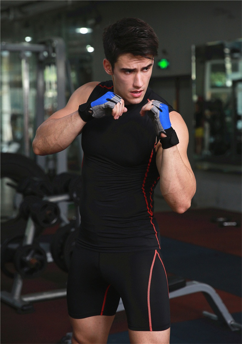 Running Suit Men Elastic Tops Underwear Set Men Tights Running Body-Building Fitness Shorts Fitness Clothing For Men Yoga Wear