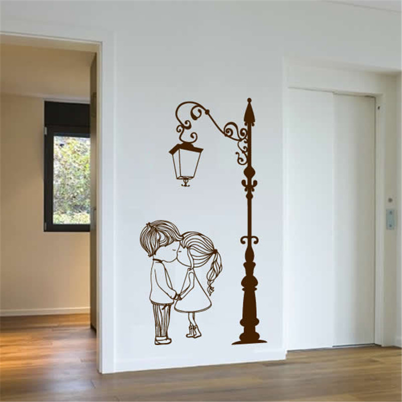Wall Decal Vinyl Sicker Street Lamp Post Light with Two Lovely Cute Boy And Girl Couple Wall Art Mural Living Room Decor