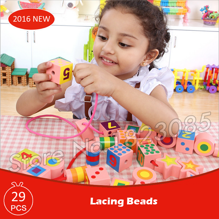 29pcs Lacing Beads Model Building Blocks Action Learning Bricks Baby Toys 2016 Boys Girls Gift 8 in 1 military ship building blocks toys for boys