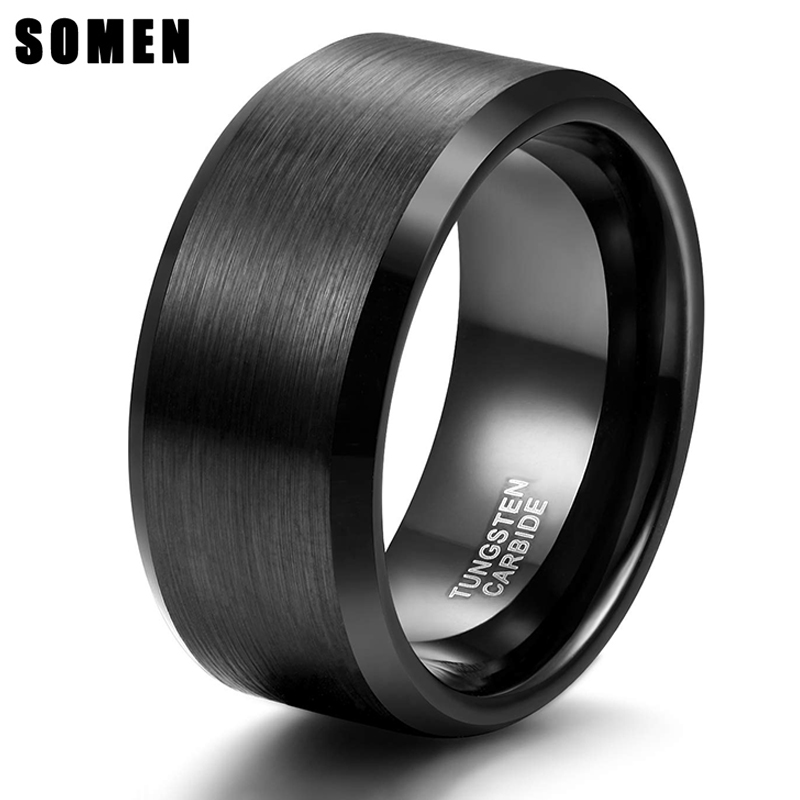 Somen 10mm Tungsten Men Rings Classic Wedding Engagement Rings For Men Black Brushed Rings Never Fade in Engagement Rings from Jewelry Accessories