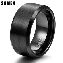 купить Somen 10mm Tungsten Men Rings Classic Wedding Engagement Rings For Men Black Brushed Rings Never Fade дешево