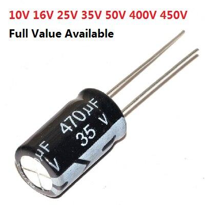 Pack of 5 CAP ALU ELEC 220UF 35V RAD Capacitors Aluminium Electrolytic