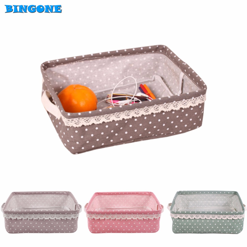 New Multi-function Foldable Solid Washable Cloth Storage Box For Cosmetic Stationary Perfume Make-up Organizer with Handle -TF