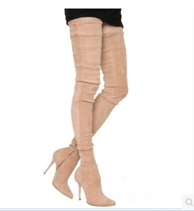 New 2017 super high length over knee high gladiator boots suede leather thigh high booties point toe beige bota thin heel shoes