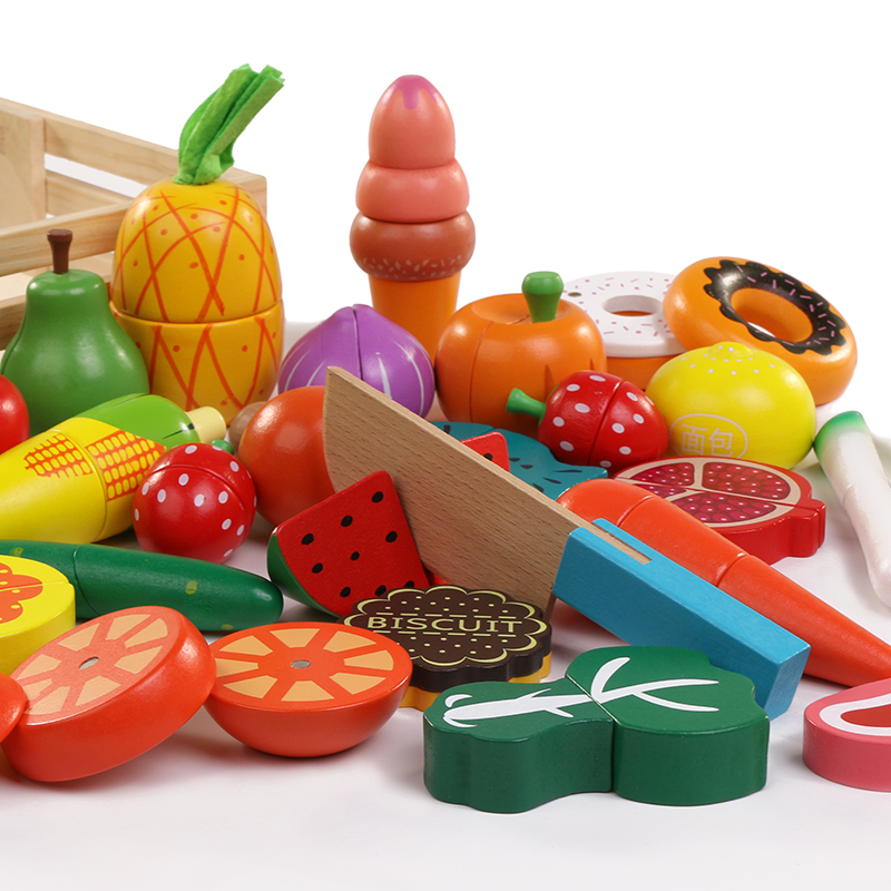 30pcs Wooden real life Simulation kitchen toys Cutting Fruit Vegetable set for children early education food toys