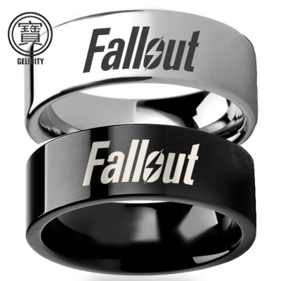 Fallout 4 Wedding Ring.Us 3 0 Aliexpress Com Buy Gelicity Fallout 4 Silver Black Stainless Steel Rings Men Fallout 4 Wedding Couple Black Titanium Biker Rings