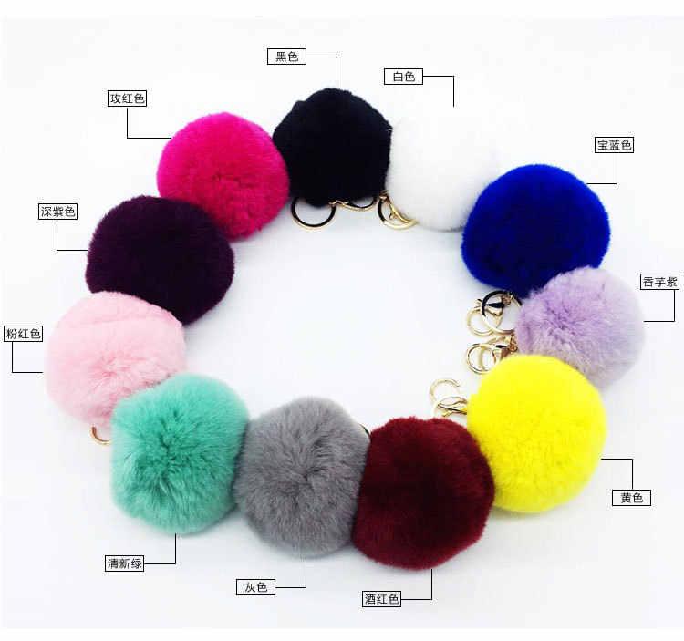 New Fashion Fur Pompom  ball key ring cute handbags plush ornaments car key chain pendant K1507