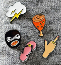 lots 5 Pcs chic cute cartoon enamel slippers/gestures/flash/robber/chicken leg brooch pin for gift
