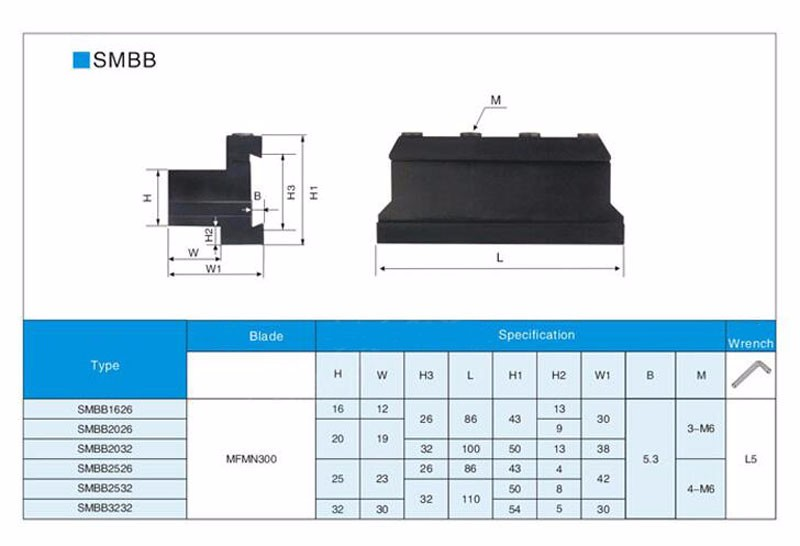 SMBB1632 Base Block Cut-Off Blade Holder Parting Off Blade+T-wrench For SPB332