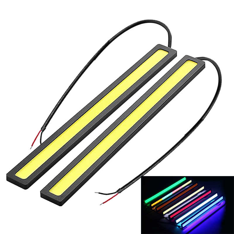 1X 17cm COB Car Daytime Running Light Car DRL LED Strip Light External Light Car Waterproof Blue Pink Red Green Amber DRL Light