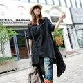 XIERY Весна Женщины Китайский Стиль Этническая Ручной Лягушка Sexy V-образным Вырезом С Длинным Рукавом Свободные Плюс Размер Белье Нерегулярные Черный Длинные Рубашки