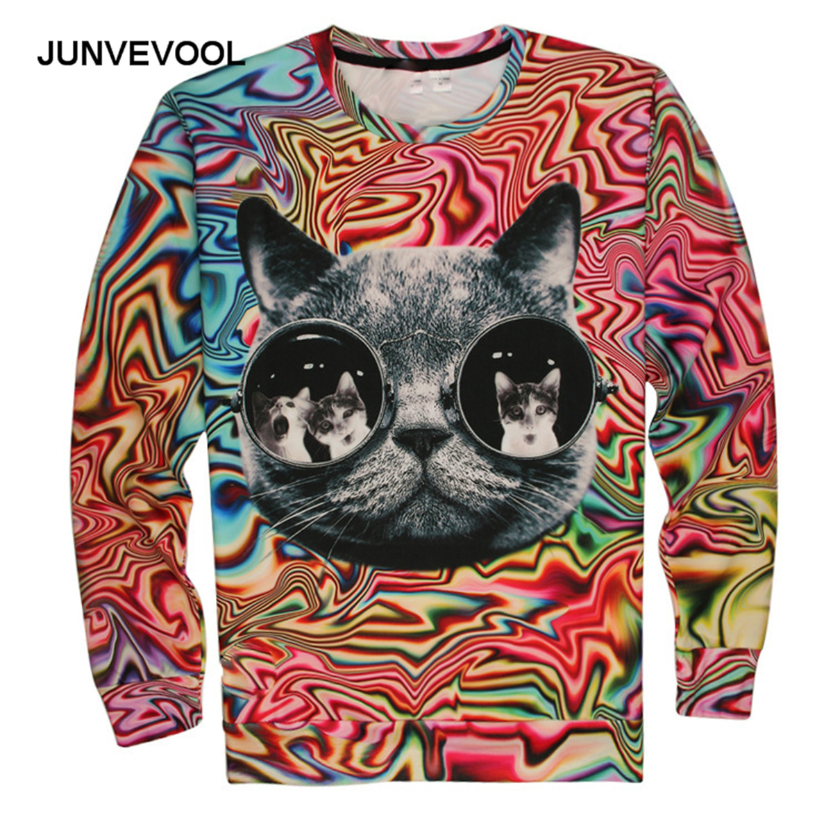 Shop2801147 Store Illusion 3D Hoodies Glasses Cool Cats Sweatshirt Harajuku Punk Hoodie Autumn Men Fitness Tracksuits Workout Pullovers Clothing