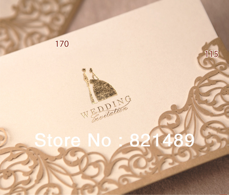 Laser Cut Wedding Invitation Cards -- Set of 50 pcs 1 design laser cut white elegant pattern west cowboy style vintage wedding invitations card kit blank paper printing invitation