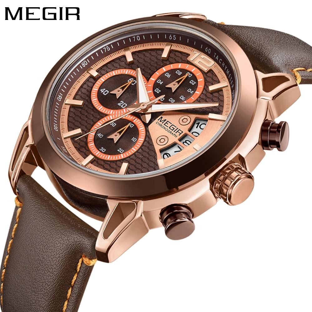 New Fashion MEGIR Men Watch 2018 Top Brand Luxury Quartz Chronograph Military Sport Watch Waterproof Gold Leather Wrist Watch