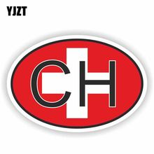 YJZT 14.2 cm * 9.5 cm Creatieve CH ZWITSERLAND Land Code Vlag Auto Sticker Helm Decal 6-0929(China)