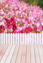 Laeacco Blooming Flowers Wooden Floor Fence Baby Photography Backgrounds Customized Photographic Backdrops For Photo Studio