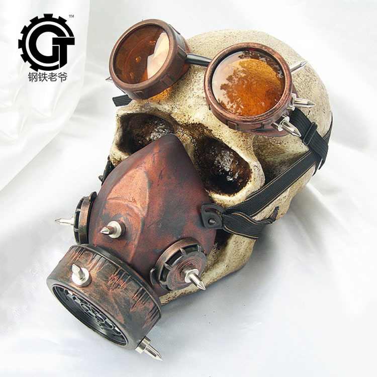 Image 2 - Steampunk Retro Glasses Gas Masks And Goggles Gothic Cos Stage  Props Personality Anti fog Haze Maskmasking definitionmask  motorcyclemask realistic