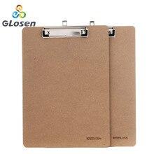 Glosen A4 Tarjeta de escritorio de madera cuaderno papeles escritura Carpeta de dibujo Butterf Clip Junta portapapeles escuela Oficina suministros
