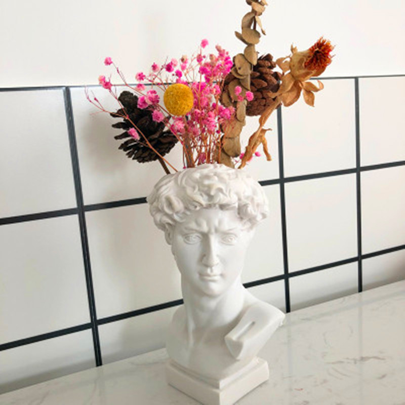 European Style Michelangelo Buonarroti David Resin Head Portrait Vase Statue Creative Desktop Decoration Flowers Cylinder X1186
