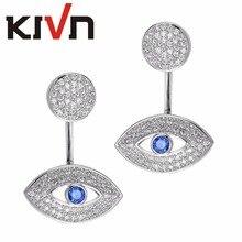 KIVN Fashion Jewelry Blue Eye CZ Cubic Zirconia Wedding Stud Earring Ear Jackets for Womens Girls