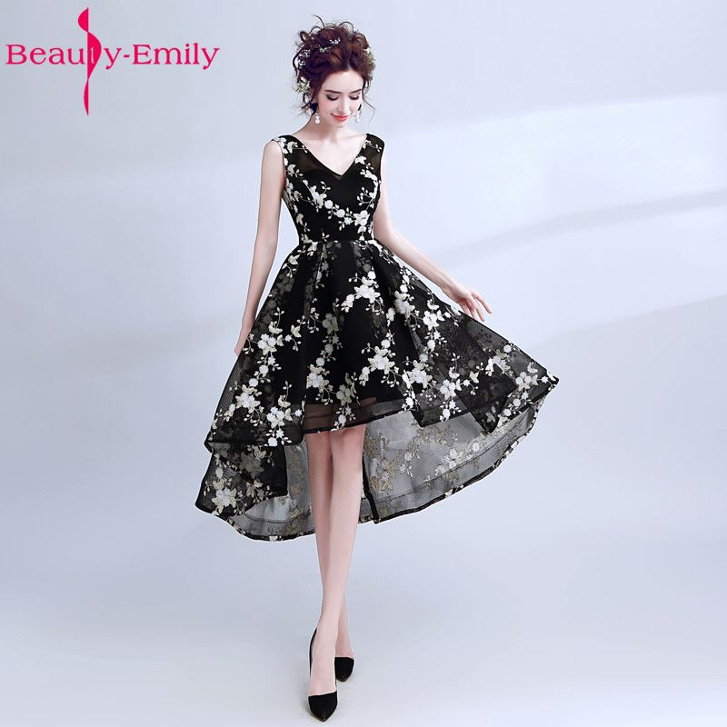 Beauty Emily Thin Short Prom Party   Bridesmaid     Dresses   2017 Asymmetrical V-neck Sexy Black Wedding Occaison Party   Dresses