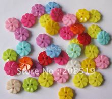 NB080 flower buttons 13mm 500pcs mixed colors 2 holes nylon sewing for childrens apparel