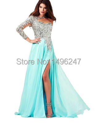 Por encargo de lujo cristalino Shinning vestidos fiesta de un hombro manga larga Prom vestidos secundarios dividir baile vestidos largos