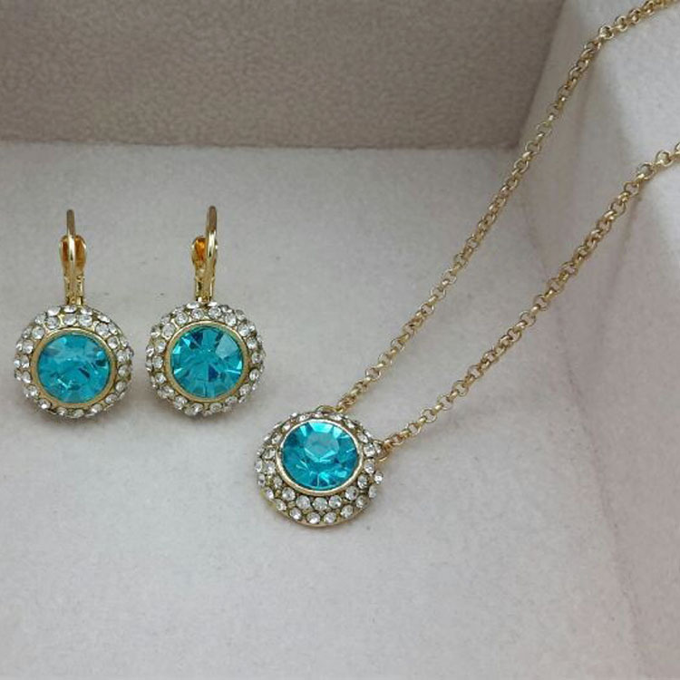 Popular suit wholesale fashion crystal act the role ofing is tasted Moon river necklaces earrings two piece 126 + 150