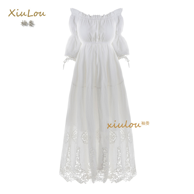 dcbe092a187b high quality beach wear summer dress strapless off shoulder dress elegant white  cotton maxi dress sexy embroidery vintage dress