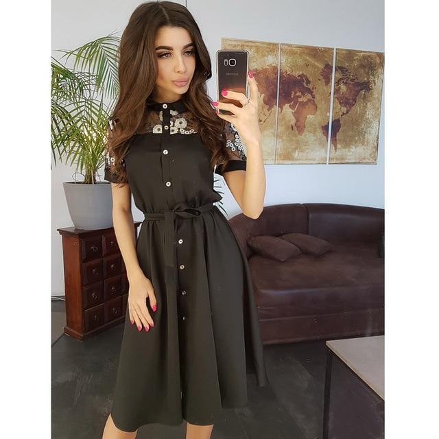 Women Vintage Sashes Lace Patchwork Dress Short Sleeve TurnDown Collar ALine Party Dress Summer Women Solid Dresses