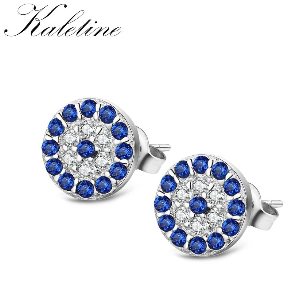High Quality Pure 925 Sterling Silver CZ Crystal Lucky Turkey Evil Eye Tiny Stud Earring KLTE008