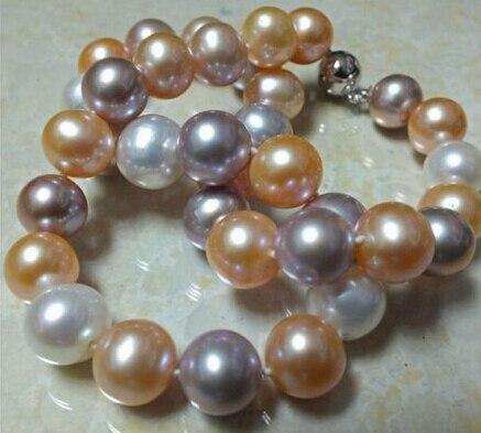 Mariage éternel femmes cadeau word 925 argent Sterling réel 925 argent réel naturel grande mer du sud naturel blanc rose collier de perles