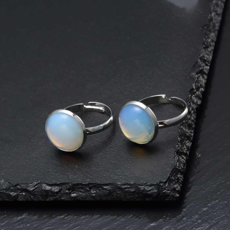 Vintage โบราณหินธรรมชาติเปิดแหวนแฟชั่นเครื่องประดับ Blue turquoises ทะเลโอปอลสำหรับงานแต่งงานครบรอบแหวน