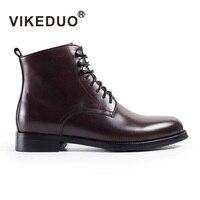 Vikeduo/модные военные ботинки для мужчин, коллекция 2019 года, винтажные оригинальные ботинки, мужская обувь на шнуровке, прошитая однотонная об