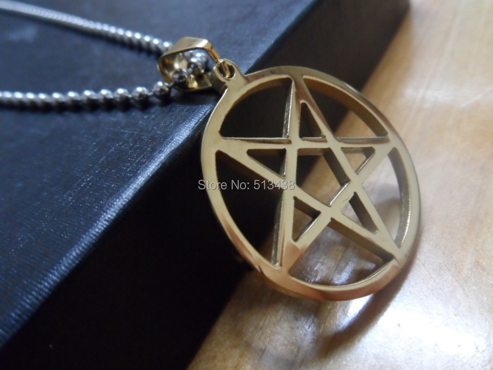 Online Shop Stainless Steel Gold Pentagram Satanic Symbol Of