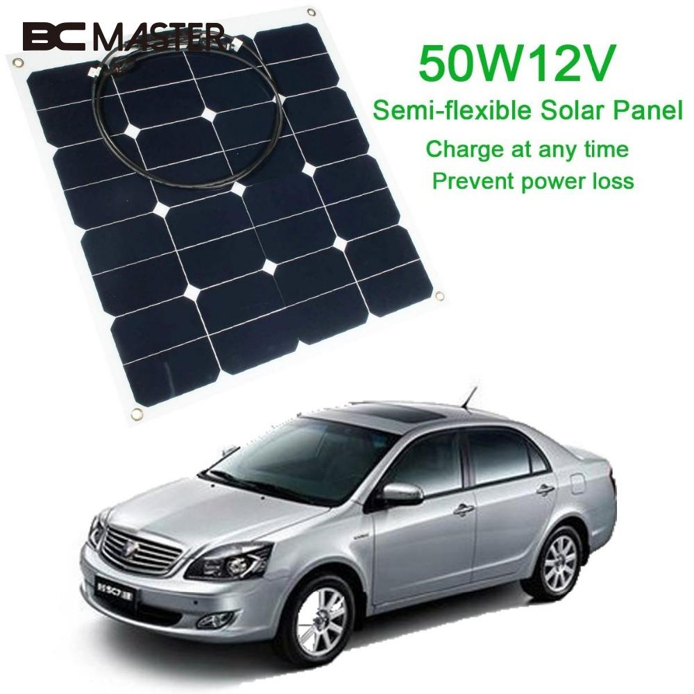 BCMaster Efficiency Flexible Travel Energy Solar Panel DIY Battery Charger USB Mobile 12V 50W for Power Bank Supply Travelling
