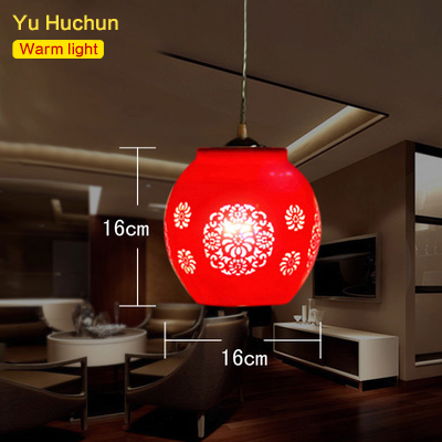 ФОТО LED E27 Chinese Style Red Pendant Light Suspension Drop Lamp Ceramic Lamp Restaurant Kitchen Lighting Modern Dining Bar Fixtures