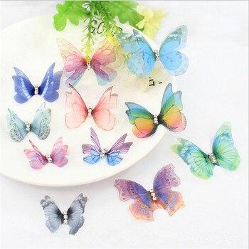 10 teile/los Lebendige Kristall Doppel Flügel Garn Schmetterling Charms Anhänger Für DIY Ohrringe Haarspange Schmuck Finden Zubehör